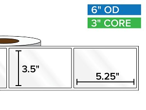Rectangular Labels, High Gloss BOPP (poly) | 3.5 x 5.25 inches | 3 in. core, 6 in. outside diameter