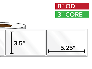 Rectangular Labels, High Gloss BOPP (poly) | 3.5 x 5.25 inches | 3 in. core, 8 in. outside diameter