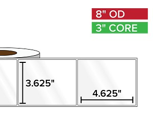 Rectangular Labels, High Gloss BOPP (poly) | 3.625 x 4.625 inches | 3 in. core, 8 in. outside diameter