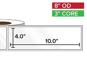 Rectangular Labels, High Gloss BOPP (poly) | 4 x 10 inches | 3 in. core, 8 in. outside diameter