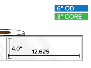 Rectangular Labels, High Gloss BOPP (poly) | 4 x 12.625 inches | 3 in. core, 6 in. outside diameter