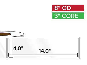 Rectangular Labels, High Gloss BOPP (poly) | 4 x 14 inches | 3 in. core, 8 in. outside diameter