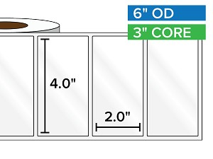 Rectangular Labels, High Gloss BOPP (poly) | 4 x 2 inches | 3 in. core, 6 in. outside diameter
