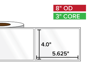 Rectangular Labels, High Gloss BOPP (poly) | 4 x 5.625 inches | 3 in. core, 8 in. outside diameter