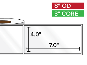 Rectangular Labels, High Gloss BOPP (poly) | 4 x 7 inches | 3 in. core, 8 in. outside diameter