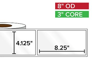 Rectangular Labels, High Gloss BOPP (poly) | 4.125 x 8.25 inches | 3 in. core, 8 in. outside diameter