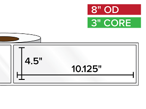 Rectangular Labels, High Gloss BOPP (poly) | 4.5 x 10.125 inches | 3 in. core, 8 in. outside diameter