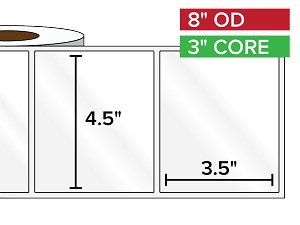 Rectangular Labels, High Gloss BOPP (poly) | 4.5 x 3.5 inches | 3 in. core, 8 in. outside diameter