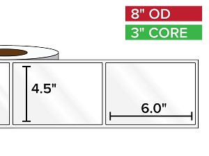 Rectangular Labels, High Gloss BOPP (poly) | 4.5 x 6 inches | 3 in. core, 8 in. outside diameter