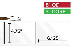 Rectangular Labels, High Gloss BOPP (poly) | 4.75 x 6.125 inches | 3 in. core, 8 in. outside diameter