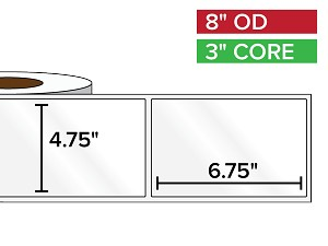 Rectangular Labels, High Gloss BOPP (poly) | 4.75 x 6.75 inches | 3 in. core, 8 in. outside diameter