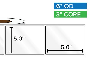 Rectangular Labels, High Gloss BOPP (poly) | 5 x 6 inches | 3 in. core, 6 in. outside diameter