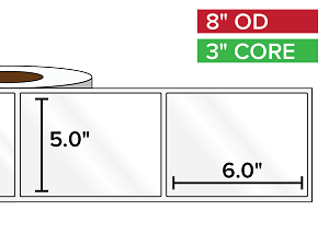 Rectangular Labels, High Gloss BOPP (poly) | 5 x 6 inches | 3 in. core, 8 in. outside diameter