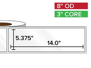 Rectangular Labels, High Gloss BOPP (poly) | 5.375 x 14 inches | 3 in. core, 8 in. outside diameter