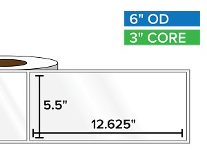 Rectangular Labels, High Gloss BOPP (poly) | 5.5 x 12.625 inches | 3 in. core, 6 in. outside diameter