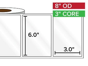 Rectangular Labels, High Gloss BOPP (poly) | 6 x 3 inches | 3 in. core, 8 in. outside diameter