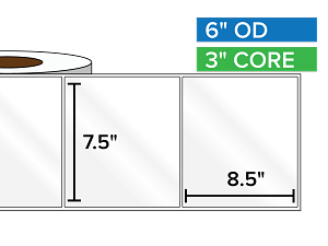 Rectangular Labels, High Gloss BOPP (poly) | 7.5 x 8.5 inches | 3 in. core, 6 in. outside diameter
