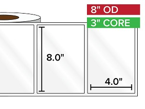 Rectangular Labels, High Gloss BOPP (poly) | 8 x 4 inches | 3 in. core, 8 in. outside diameter