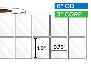 Rectangular Labels, High Gloss White Paper | 1 x 0.75 inches, 2-UP | 3 in. core, 6 in. outside diameter