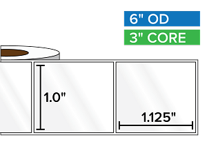 Rectangular Labels, High Gloss White Paper | 1 x 1.125 inches | 3 in. core, 6 in. outside diameter