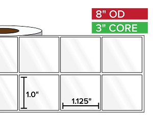 Rectangular Labels, High Gloss White Paper | 1 x 1.125 inches, 2-UP | 3 in. core, 8 in. outside diameter