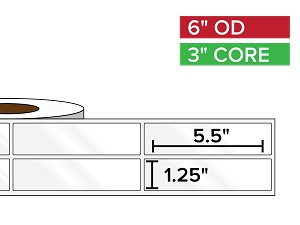 Rectangular Labels, High Gloss White Paper | 1.25 x 5.5 inches, 2-UP | 3 in. core, 8 in. outside diameter