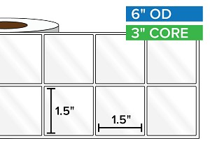 Rectangular Labels, High Gloss White Paper | 1.5 x 1.5 inches, 2-UP | 3 in. core, 6 in. outside diameter