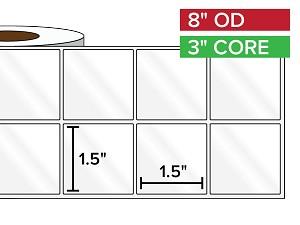 Rectangular Labels, High Gloss White Paper | 1.5 x 1.5 inches, 2-UP | 3 in. core, 8 in. outside diameter