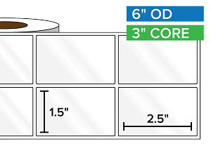 Rectangular Labels, High Gloss White Paper | 1.5 x 2.5 inches, 2-UP | 3 in. core, 6 in. outside diameter