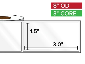 Rectangular Labels, High Gloss White Paper | 1.5 x 3 inches | 3 in. core, 8 in. outside diameter