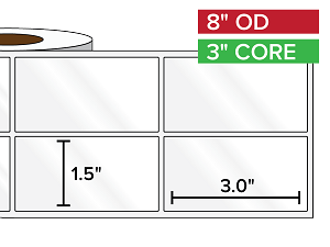 Rectangular Labels, High Gloss White Paper | 1.5 x 3 inches, 2-UP | 3 in. core, 8 in. outside diameter