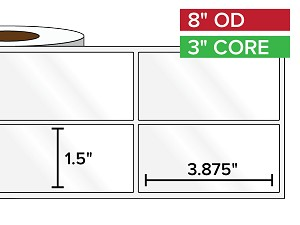 Rectangular Labels, High Gloss White Paper | 1.5 x 3.875 inches, 2-UP | 3 in. core, 8 in. outside diameter