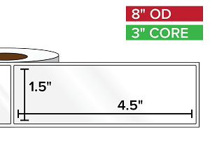 Rectangular Labels, High Gloss White Paper | 1.5 x 4.5 inches | 3 in. core, 8 in. outside diameter