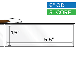 Rectangular Labels, High Gloss White Paper | 1.5 x 5.5 inches | 3 in. core, 6 in. outside diameter