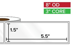 Rectangular Labels, High Gloss White Paper | 1.5 x 5.5 inches | 3 in. core, 8 in. outside diameter