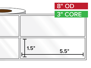 Rectangular Labels, High Gloss White Paper | 1.5 x 5.5 inches, 2-UP | 3 in. core, 8 in. outside diameter