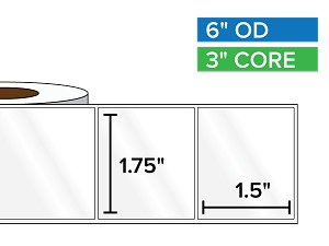 Rectangular Labels, High Gloss White Paper | 1.75 x 1.5 inches | 3 in. core, 6 in. outside diameter