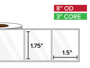 Rectangular Labels, High Gloss White Paper | 1.75 x 1.5 inches | 3 in. core, 8 in. outside diameter