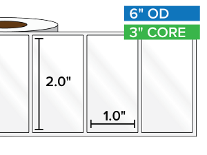 Rectangular Labels, High Gloss White Paper | 2 x 1 inches | 3 in. core, 6 in. outside diameter