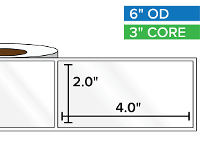 Rectangular Labels, High Gloss White Paper | 2 x 4 inches | 3 in. core, 6 in. outside diameter
