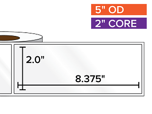 Rectangular Labels, High Gloss White Paper | 2 x 8.375 inches | 2 in. core, 5 in. outside diameter
