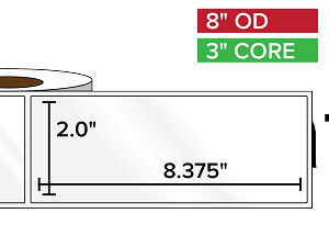 Rectangular Labels, High Gloss White Paper | 2 x 8.375 inches | 3 in. core, 8 in. outside diameter