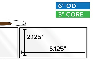 Rectangular Labels, High Gloss White Paper | 2.125 x 5.125 inches | 3 in. core, 6 in. outside diameter