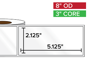 Rectangular Labels, High Gloss White Paper | 2.125 x 5.125 inches | 3 in. core, 8 in. outside diameter