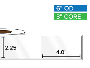 Rectangular Labels, High Gloss White Paper | 2.25 x 4 inches | 3 in. core, 6 in. outside diameter