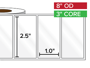 Rectangular Labels, High Gloss White Paper | 2.5 x 1 inches | 3 in. core, 8 in. outside diameter