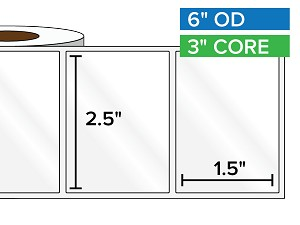 Rectangular Labels, High Gloss White Paper | 2.5 x 1.5 inches | 3 in. core, 6 in. outside diameter