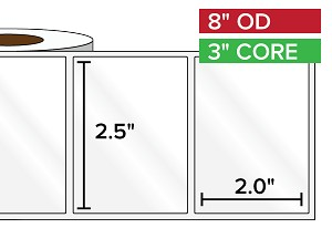 Rectangular Labels, High Gloss White Paper | 2.5 x 2 inches | 3 in. core, 8 in. outside diameter