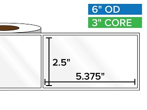 Rectangular Labels, High Gloss White Paper | 2.5 x 5.375 inches | 3 in. core, 6 in. outside diameter