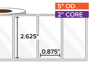 Rectangular Labels, High Gloss White Paper | 2.625 x 0.875 inches | 2 in. core, 5 in. outside diameter